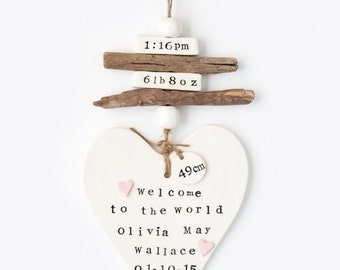 Newborn Gifts, Birth Announcement, Welcome to the World, Hearts, Driftwood, Beads, Date of Birth, Ceramic, Birth details, Made in Australia.