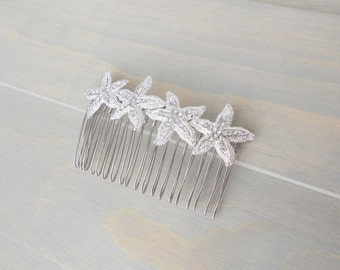 Starfish Hair Comb, Starfish Hair Pin, Beach Wedding, Bridal Hair Piece