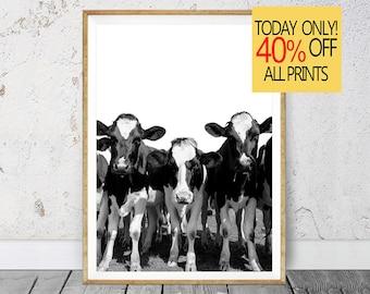 Cow Print, Cow Wall Art, Farm Cow Print, Nursery Farm Animal Wall Art, Black and White Printable Photo, Farm Animal Print, Black White Photo