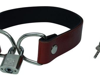 Red Leather Padlock Collar | Goth Fashion Collar