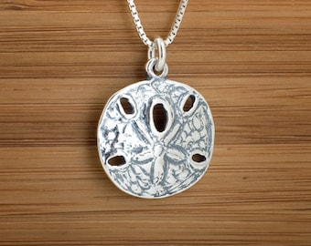 STERLING SILVER Sand Dollar Pendant Necklace or Earrings - Chain Optional
