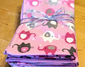 Set of six soft flannel burp cloths in pink elephant/gingham print