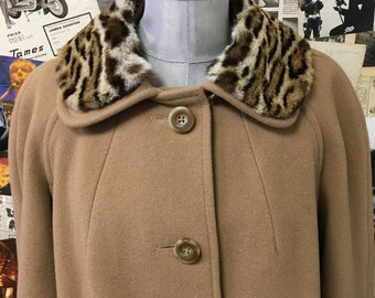 Womens Vintage Wool Coat by English Lady Camel Faux Fur Leopard Full Length Brown Size UK 14 approx Cheap UK & Worldwide Post