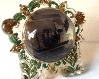 Vintage Victorian goofus glass frame paperweight magnifying photo