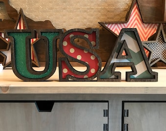 Patriotic USA Wood Cutout, 4th of July Decor, Independence Day Decorating, Marquee Style Wood USA Cutout, Laser Cut Wood Sign, Entry Wall