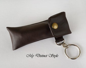 CHOOSE ONE COLOR - Men's Soft Faux Leather Fabric Lip Balm Holder with Keyring, Lip Balm Cozy, Chapstick Holder