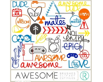 Boys Awesome Set: Photoshop Brushes, Photo Overlays, Digital Cut Files and Clip Art