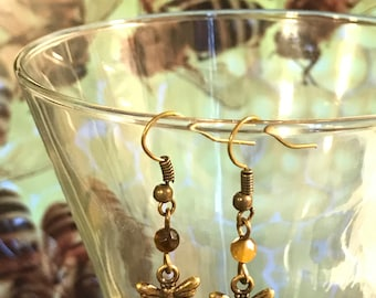 Tigers Eye Honey Bee Earrings