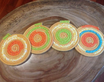 coiled rope coasters, coasters, mug rugs, coiled rope coaster, hand-dyed boho