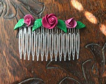 Hair comb Flower comb Flower hair comb Hair comb clip Boho headpiece Bridesmaid comb Floral hair comb