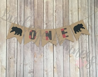 Lumberjack One Banner, Hunter Plaid One Banner, Lumberjack Birthday, Hunter Plaid Birthday, First Birthday