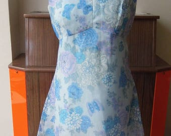 1960s handmade shift dress, flowers and butterflys size 10-12