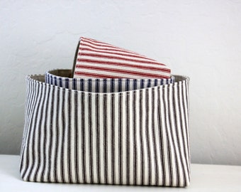 Storage Basket - Rectangular Striped Ticking Fabric Basket -  Select Your Color and Size