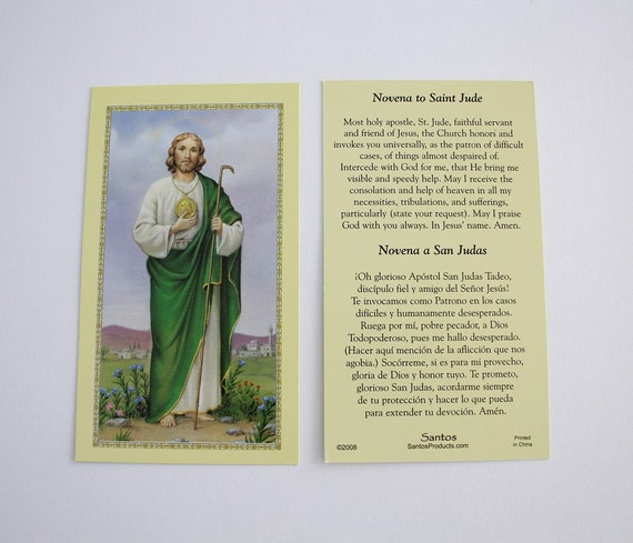 Saint jude thaddeus bilingual holy card ten novena to st jude saint jude thaddeus bilingual holy card ten novena to st jude prayer cards religious ephemera bible scrapbooking craft supply hc13 from thecheapjerseys Images
