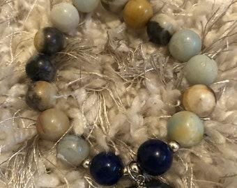 Earth & the Blues Beaded Bracelet