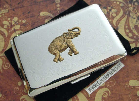 Elephant business card case silver plated vintage inspired like this item colourmoves Choice Image