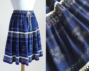 70's Butterfly Print & White Crochet Lace Bohemian Folk Knee Length Full Drawstring Blue Cotton Skirt / Made in Greece / One Size