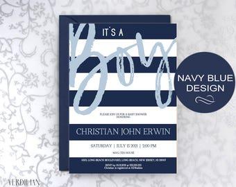 Navy Blue Baby Shower Invitation Template - It's a Boy DIY Printable Editable Invitation-PDF-Instant Download | VRD502GB