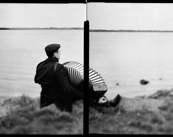 Accordion Player At The Sea, Musician, Fine Art Photography, Black And White, Home Decor, Office, Limited, Collectible, Large, Photography