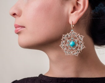 "Tatting earrings ""Mademoiselle Josephine"" French lace handmade earrings evening shuttles"