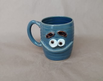 Mischief Maker Mug. Big Blue Smiley Face Coffee Cup for Funny Morning Pick Me Up. Jokester Prankster Coffee Tea Drinker Gift Under 25.