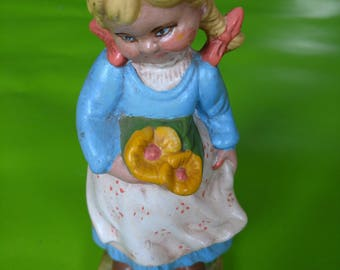 Vintage Ceramic Girl Figurine, Made in Mexico