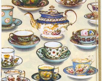 4 Decoupage Napkins | Tea Room Table Tea Cups Tea Pot | Tea Party Napkins | Lunch Napkins | Paper Napkins for Decoupage