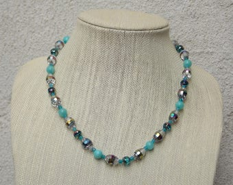 """Sparkly  Crystal and Light Blue Glass Bead Necklace, 20"""" Handmade"""
