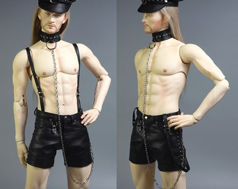 BJD Leather Hunk Kinky Harness BDSM Roleplay Outfit for Soom Idealian, Iplehouse, etc.