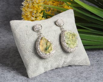 Natural Green Quartz Druzy Drop Earrings With Pave Rhinestone Wedding Jewelry Bridesmaid Earrings Gift For Her
