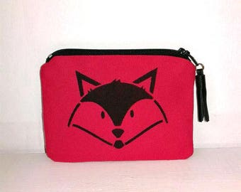Fox in red cotton with leather tassel purse
