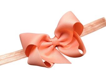 Peach baby headband - peach baby bow headband, newborn headband, elastic headband, baby bow headband, baby girl headband, infant headbands