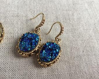 Gold Druzy Earrings, Faux Druzy Earrings, Druzy Earrings, Antique Gold Earrings