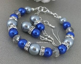 Royal Blue and Silver Bracelet Bridesmaid Bracelet Maid of Honor Bracelet Royal Blue Bracelet Bridesmaids Jewelry Cobalt Blue
