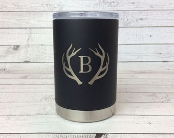 Engraved 11oz Can Cooler, Antler Monogram, Laser Engraved Stainless Steel Can Cooler, Personalized Groomsmen Gift,