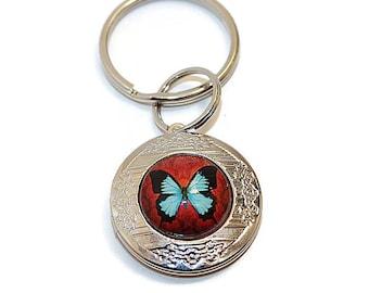 Key Ring Locket, Butterfly Keyring, Ash Locket, Memorial Locket