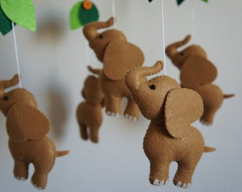 Mobile 5 elephants felt handmade baby
