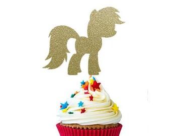 Set of 12Pcs - Glitter Pony Party Pick Topper, Birthday, Baby Shower, Cupcake Topper