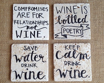 Wine Lover 2 // Natural Stone Wine Coasters