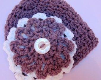 Instant Download Crochet Newborn Big Flower Hat