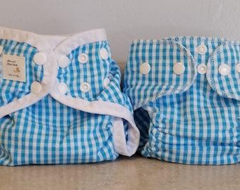 Preemie Newborn Cloth Diaper & Diaper Cover Set-  4 to 9 pounds- Blue and White Plaid- 29011