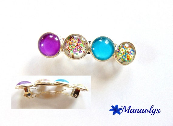 Cabochons glass, colorful trees, hair clip