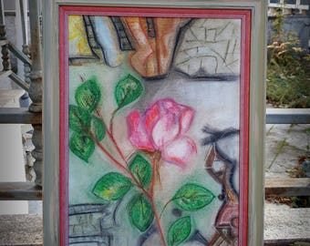 "Original painting ""I am yours"" dry pastel  with a wooden frame"