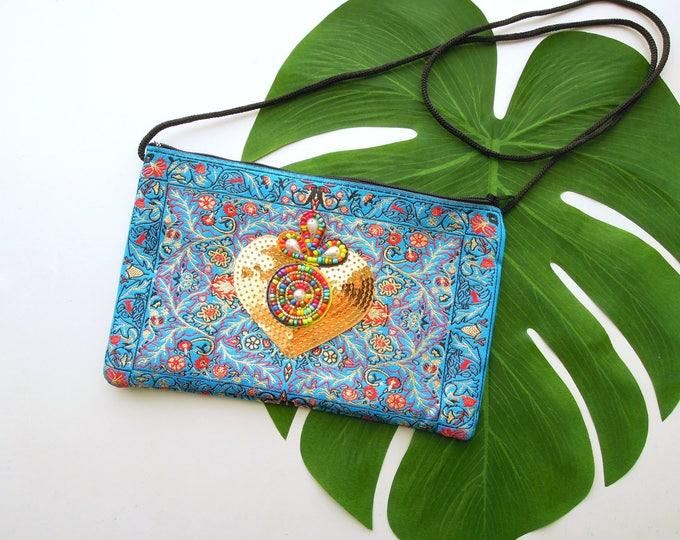 Crossbody Boho Bag, Turquoise Shoulder Pouch Bag, Ethnic Oriental Rug Bag, Travel Pouch Bag, Christmas gift, Bohemian Gipsy Boho Bag
