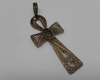 Pendant, cross the ankh or cross ansée, egyptian filigree, free shipping
