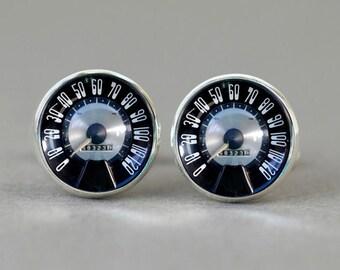 50' Retro Vintage Car Speedtest cufflinks silver Car velocity cuff links accessories men car gear shift