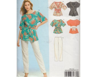Womens Kimono Top with Attached Wrap Obi Sash and Straight Leg Pants New Look 6714 Size 6 to 14 Sewing Pattern Neckline Variations