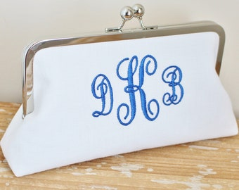 Monogrammed White Linen Clutch - Nautical Wedding - Bridesmaid Clutch - Wedding Clutch - Natural, Ivory, Grey, Blush
