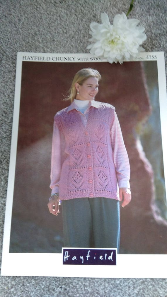 Vintage Knitting Pattern For Ladies Waistcoat Hayfield Chunky