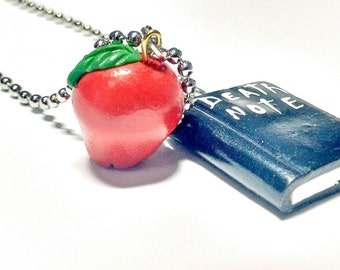 Death note charm necklace/ Death note necklace/ Death notebook/ Polymer clay death note book